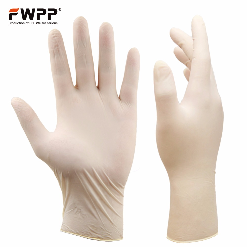 FWPP 100 Pcs/Box  Disposable Latex Gloves Powder Free Industrial Medical Laboratory Food Operation Small Medium Large White fwpp disposable nitrile gloves medical grade powder free latex free disposable non sterile food safe s m l black 50 pcs