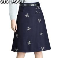SUCH AS SU New Fashion 2017 Autumn Winter Wool Skirts Womens Black Dark Blue Butterfly Embroidery S 3XL High Waist A Line Skirt