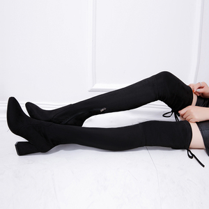 Image 2 - Women Stretch Faux Suede Thigh High Boots Sexy Fashion Over the Knee Boots High Heels Woman Shoes Black N087