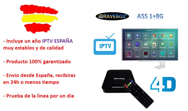 Year one free IPTV M3U Spain for watch DAZN, football VOD Android TV box  ibravebox A5S S905W Android 7 1 TV box 1G + 8G Smart TV