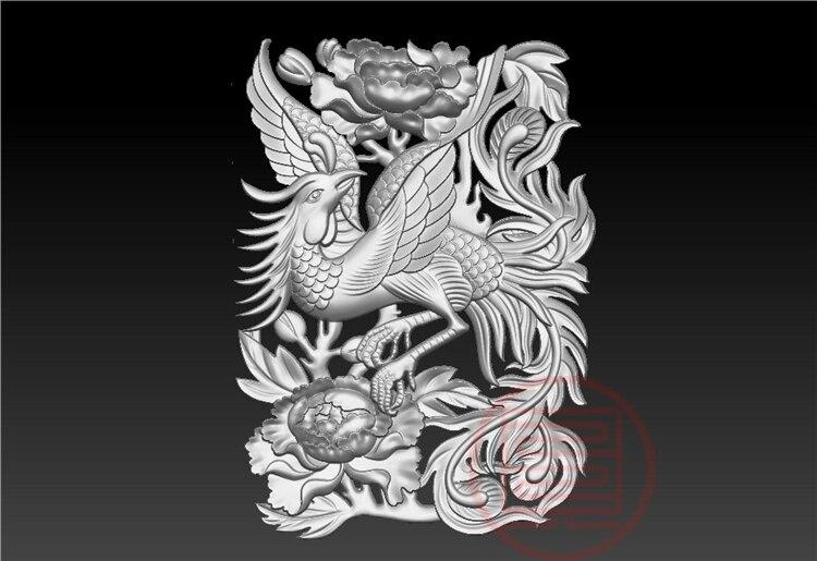 3D модель STL формат файла для ЧПУ гравировальный резной рельеф Феникс и цветок Artcam Rhino совместимый