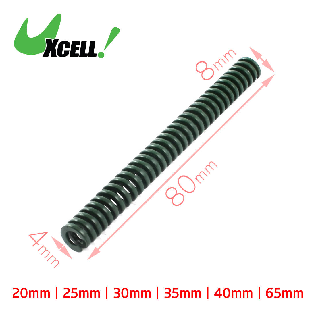 Uxcell 8x4mm 10x5mm Heavy Load Green Spiral Stamping Compression Die Spring Green Long 20mm 35mm 40mm 50mm 65mm 70mm 80mm free shipping 10pcs 20mm x 10mm x 50mm spiral metal stamping compression die spring
