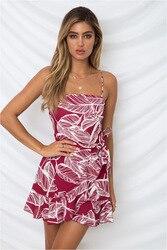 Fashion Summer Women Chiffon Dress Casual Print Sexy Strapless Sleeveless Spaghetti Strap Ruffles Female Beach Short Dress 2XL 1