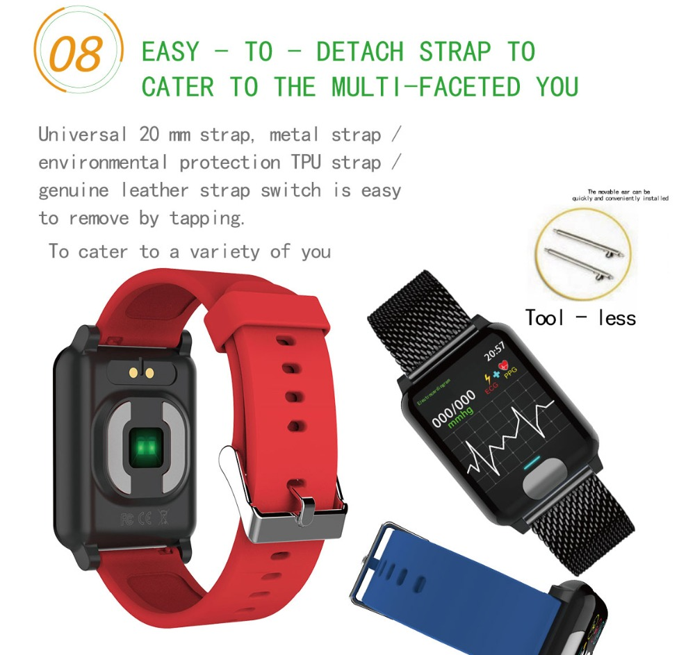 I-SWIM E04 Smart Band Fitness Tracker ECG/PPG Blood Pressure Heart Rate Monitor Waterproof Smart Watch for Xiaomi Android IOS 12