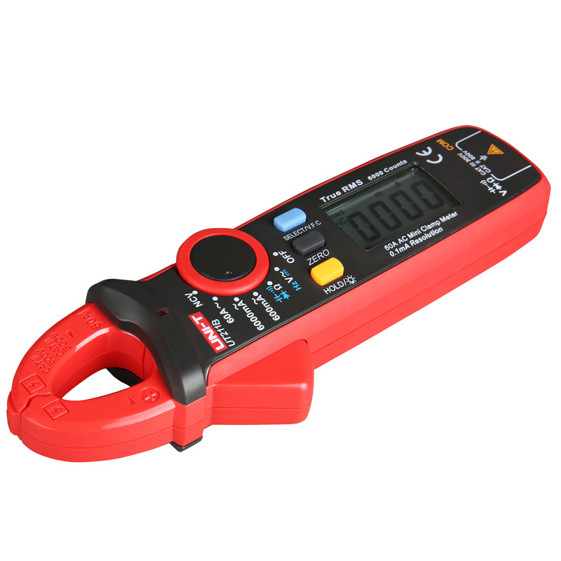 UNI T UT211B AC/DC 60A Mini Digital Clamp Meters; True RMS Ammeter, V.F.C./NCV/ Resistance/Capacitance Test, LCD Backlight - 5