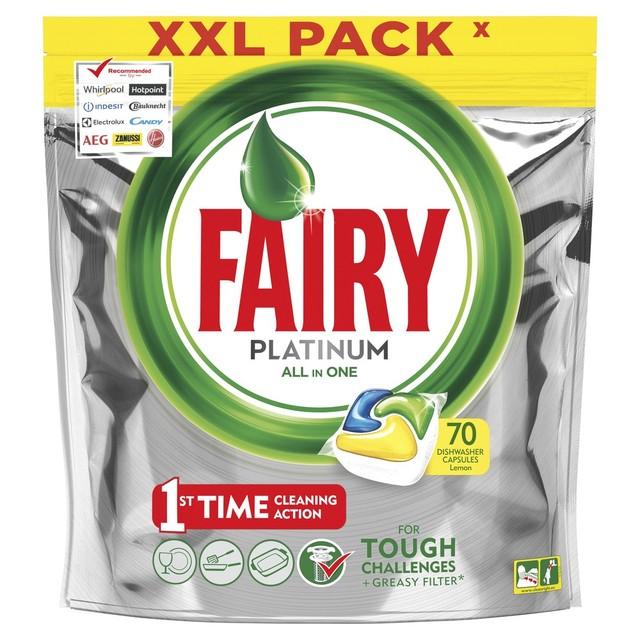 Капсулы для посудомоечной машины Fairy Platinum Лимон (70 штук)