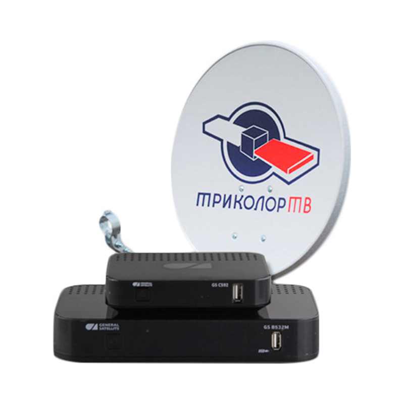 Satellite receiver Tricolor Europe FullHD 2 TV set GS B532M + GS C592 3d poster print stand collar jacket