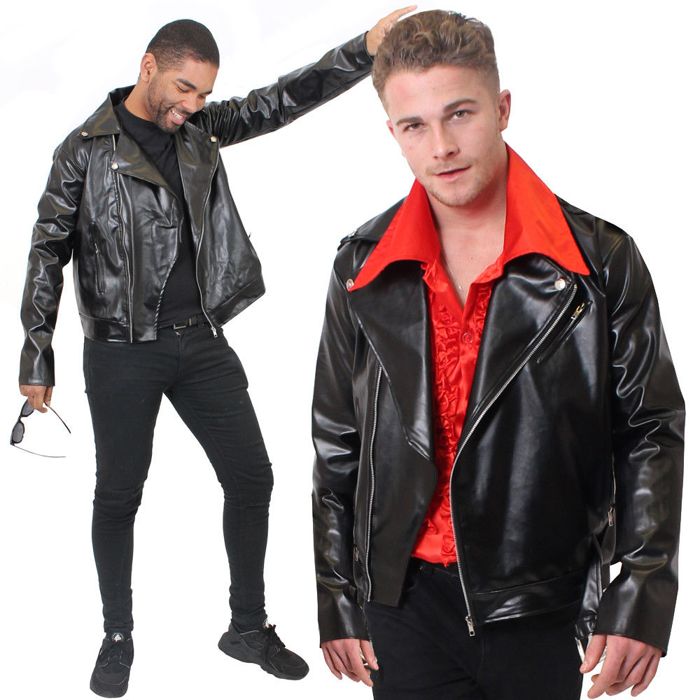 MENS FANCY DRESS LEATHER JACKET LOOK BIKER BANDANA MENS FANCY DRESS COSTUME THE SAVIORS NEGAN WALKING DEAD S M L XL 2XL COSPLAY