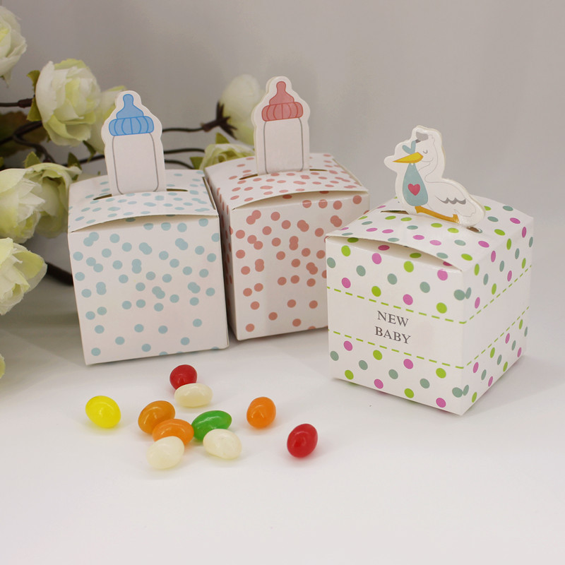 Free Shipping 50 X Feeding Bottle Candy Box Baby Shower Gift Kids Birthday Party Deco Supply