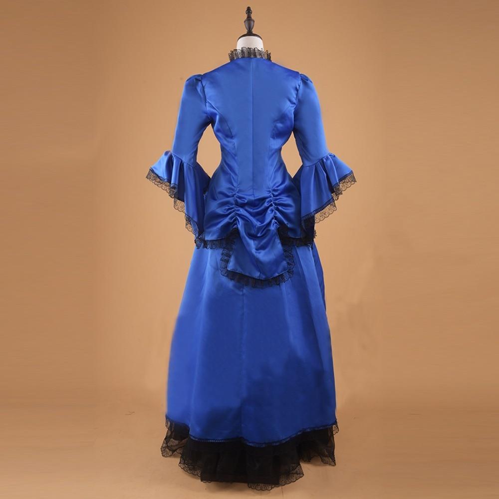 Primavera Victorian Mujer Vintage Vestido Halloween Plisado Fiesta Disfraz De Moda Noche Encaje Gótico Azul rtnqgrT