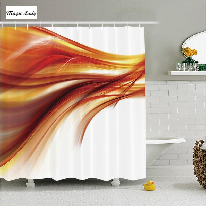 Shower Curtain Designs Bathroom Accessories Abstract Modern Smooth Lines Blurred Smoke Orange