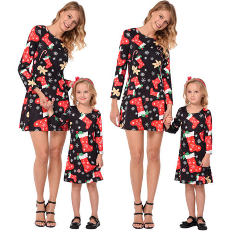 Emmababy Fashion Family Mother Daughter Christmas Dresses Leisure Women Girl Matching Outfits For Female Girl Gifts Drop Ship