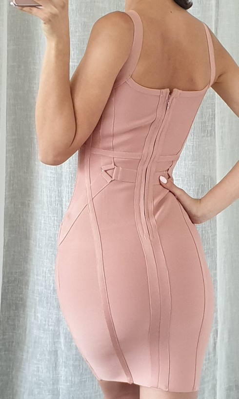 New Summer Pink Women Bandage Dress Vestido Celebrity Runway Party Dress Sexy Spaghetti Strap Hollow Out Runway Dress photo review