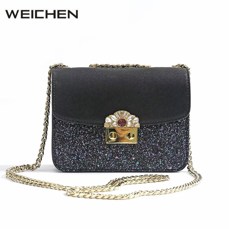 Bags For Women 2018 Famous Brand Split Leather Glitter Mini Chain Flap Bag Sac A Main Female Shoulder Bags Ladies Crossbody Bag glitter decor chain crossbody bag