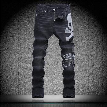 Vintage Skull Letter Print Denim Trousers Man Black Slim Jeans