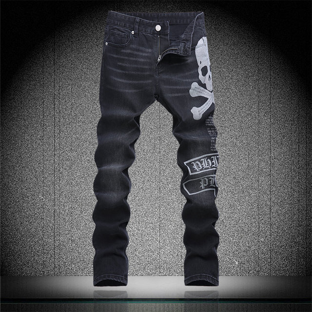 Vintage Skull Letter Print Denim Trousers Man Black Slim Jeans
