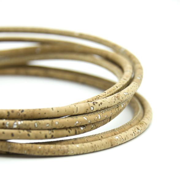 10Meter Natural with silver Cork 5mm round cork cord Portuguese cork jewelry supplies /Findings cord vegan material COR-317-10