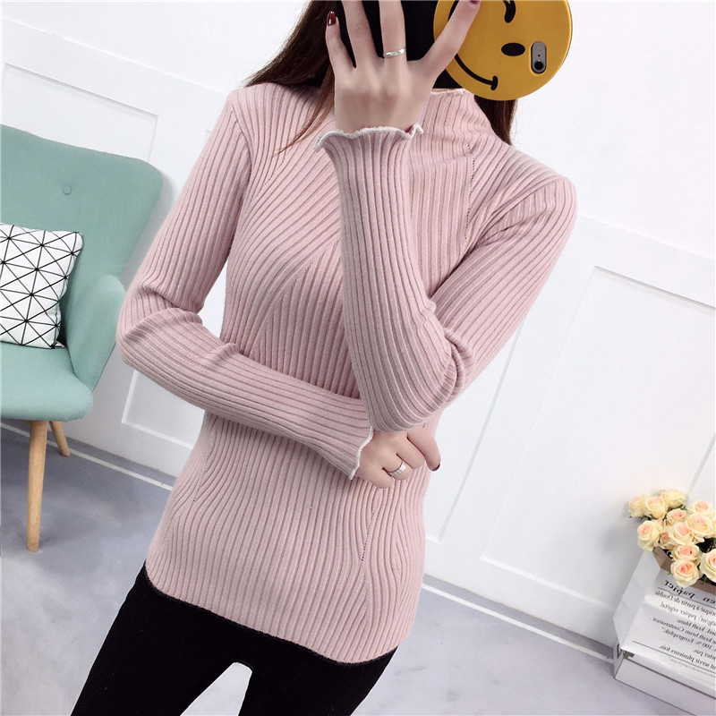 Turtleneck Sweater Clothing Pullovers Knitting Women Cheap Cotton K3967 Female
