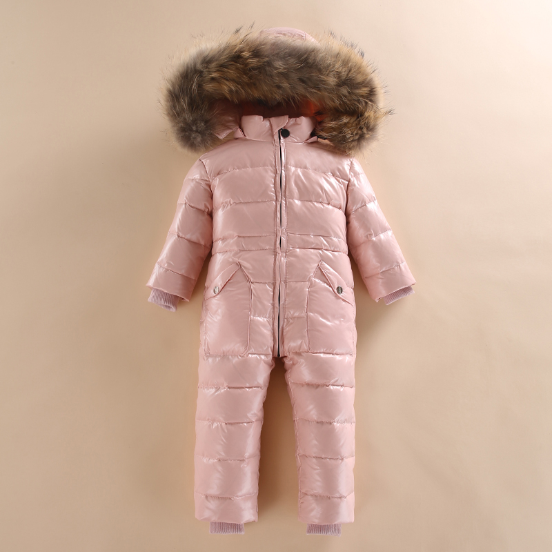 2018 Winter Children Gilrs Boys White Duck Down Jumpsuit Baby Real Raccoon Fur windproof snowsuit Kids warm down overalls R02