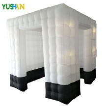8ft White with Black Base Inflatable photo booth Wedding backdrop 8pcs LED bulbs lights  Cube tent For party Weddings Sales