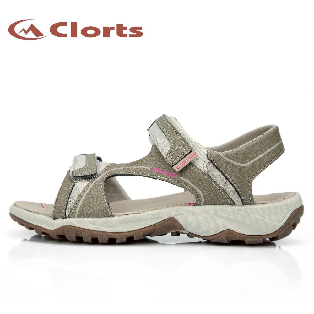 Clorts летние пляжные сандалии для Для женщин Легкий дышащий материал сандалии для прогулок из натуральной кожи прогулочные сандалии