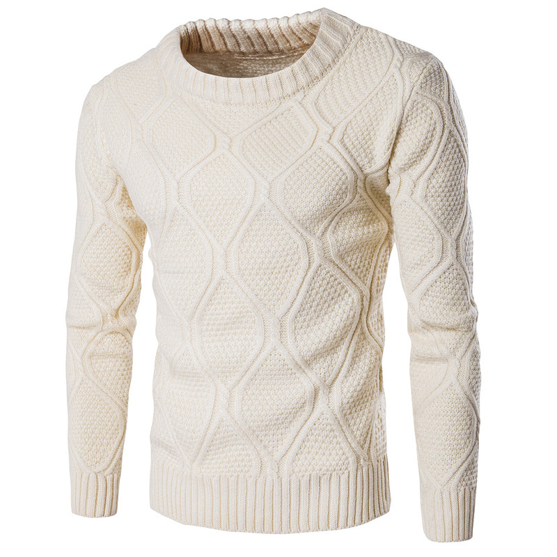 2017 Autumn Winter Warm Men Casual Sweaters Round Neck Long Sleeve Slim Fit Elastic Knitted Sweater