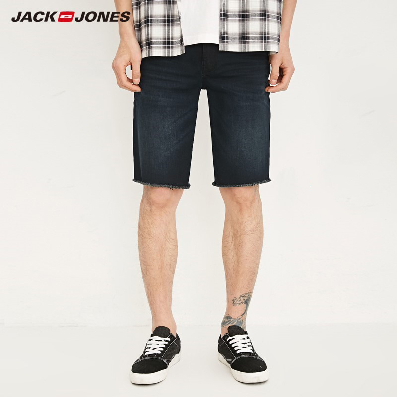JackJones Men's Spring & Summer Slim Fit Whiskering Denim   Shorts   J|218243523