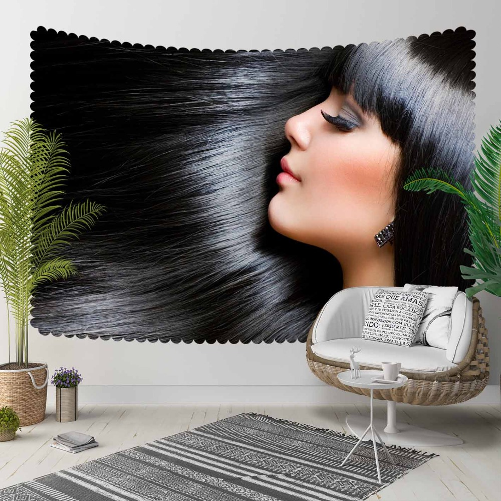 Else Black Shine Hair Beauty Women 3D Print Decorative Hippi Bohemian Wall Hanging Landscape Tapestry Wall Art