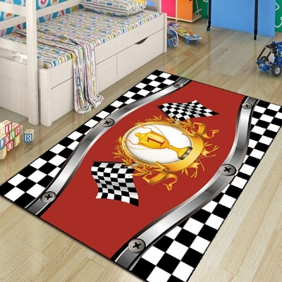 Else Red Car Eace Cup Black White Flag 3d Pattern Print Non Slip Microfiber Children Kids Room Decorative Area Rug Kids Game Mat