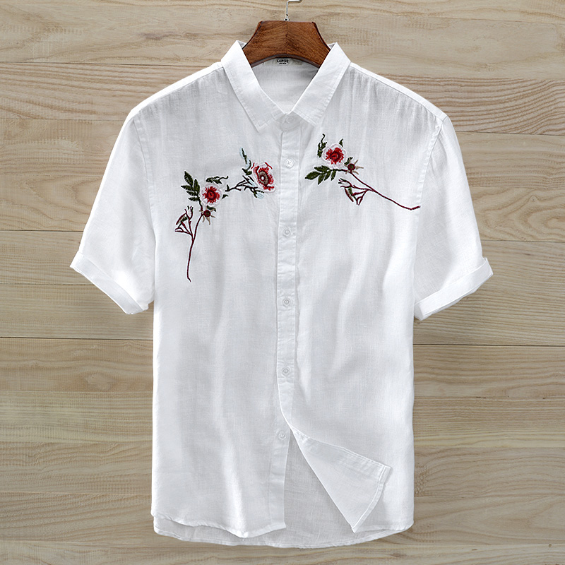 Men flax short sleeve shirt male thin section Chinese wind restoring ancient ways of men's summer embroidery flower joker pure l