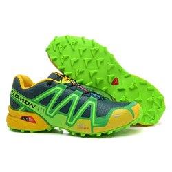 2018 New Salomon Speed Cross 3 CS III Outdoor Sports Shoes Speed Cross Dark blue apple green Men's Sneakers EUR 40-46