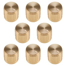 UXCELL 8Pcs 17x 17mm Aluminium Alloy Potentiometer Volume Control Rotary Knob Knurled Shaft Hole Gold Tone Switch Accessories цена