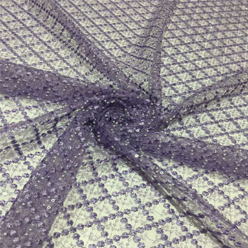 Sold Heavy french Beaded lace fabric with embroidery mesh tulle beads purple Sequins lace fabric A970-1