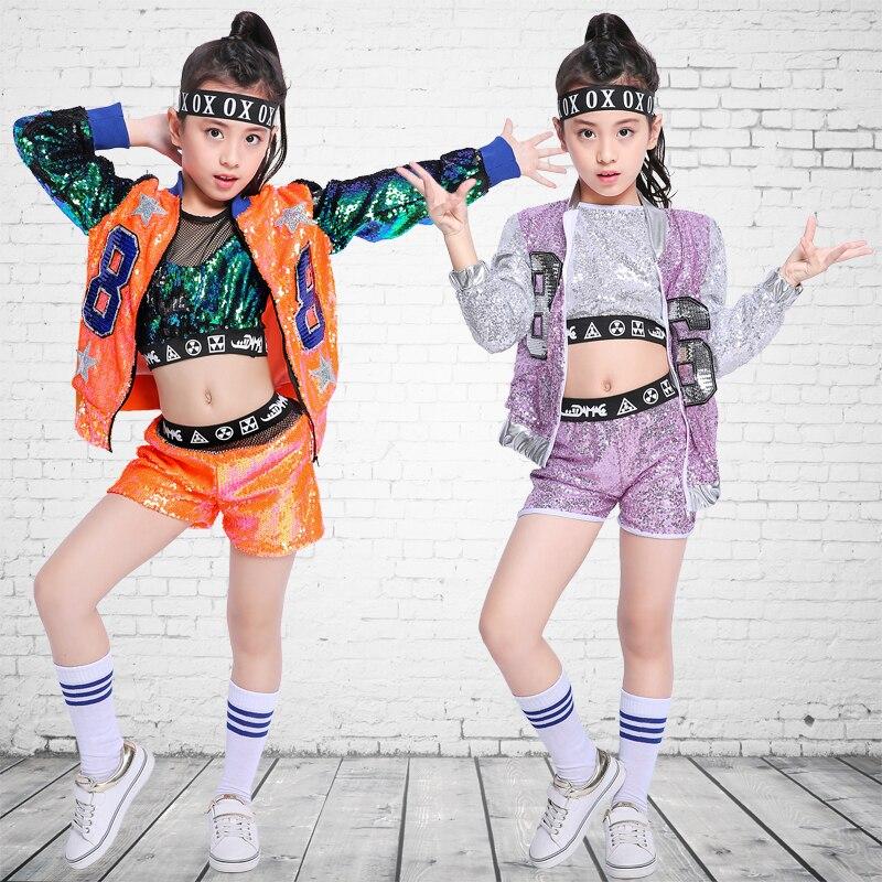 Accurato Paillettes Vestito Costumi Jazz Hip Hop Danza Vestiti Netto Lane E Filati Di Strada Della Maglia Dei Vestiti Di Ballo Di Usura Di Prestazione Della Fase Dei Bambini Dwy267