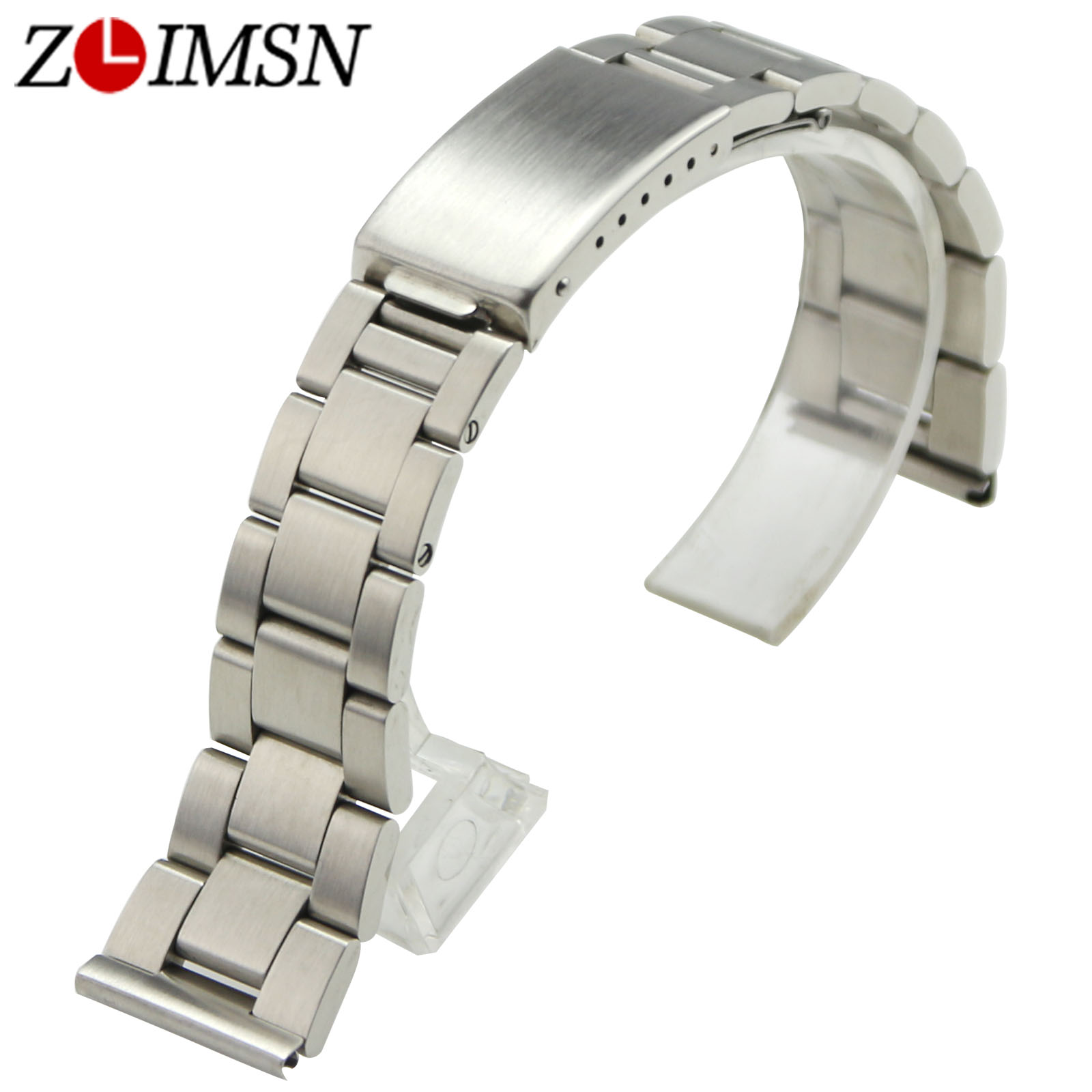 ZLIMSN Stainless Steel Watchbands Replacement Silver 18mm 19mm 20mm Brushed Sport Watch Bracelets Flat End Deployment Clasp
