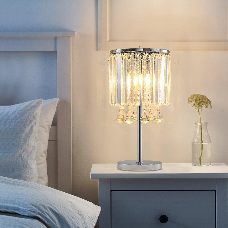 Işıklar ve Aydınlatma'ten LED Masa Lambaları'de LED modern lüks kristal masa lambaları basit oturma odası çalışma yaratıcı yatak odası sıcak başucu lambaları E27 title=
