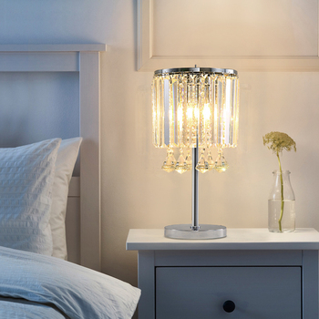 LED modern luxury crystal Table Lamps simple living room study creative bedroom warm bedside Lamps E27