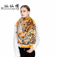 XIANXIANQING 2017 Women Winter Scarf Orange Color Printing Scarves For Womens Lady High Fashion Bandanas Femme