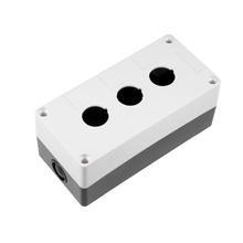 UXCELL Push Button Switch Control Station Box Accessories 22mm 3 Button Hole Black And White For Electronic Projects Amplifiers plastic 3 switch 22mm push button control station case box