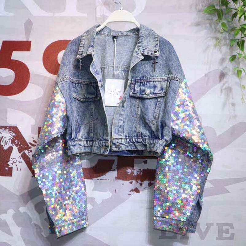 Colorful Sequins Pockets Denim Outerwear Turn down Collar BF Style Coats 2019 Spring Single Breasted Women Jackets in Jackets from Women 39 s Clothing