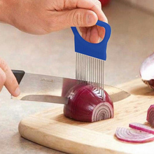 1Pc Stainless Steel Vegetable Fruit Cutter Onion Slicer Holder Kitchen Gadget Tool For Cooking Vegetable Artifact недорого