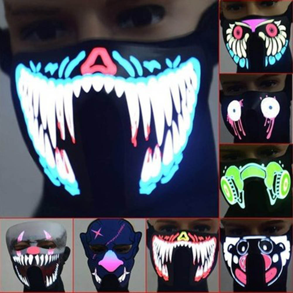 Halloween led cold light mask music voice glow cold light el bright light mask luminous  ...