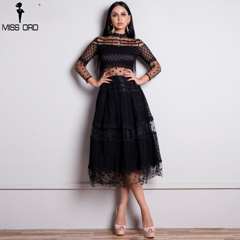 Missord 2019 женское сексуальное платье в горошек с высоким воротом и длинным рукавом женское кружевное платье просвечивающее повседневное элег