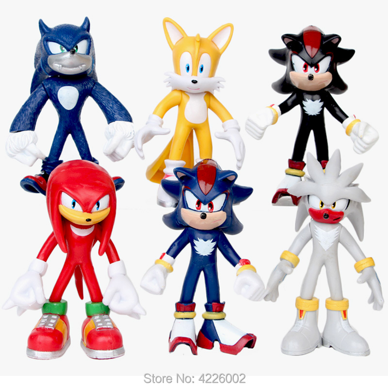 Sonic World Adventure Werehog Tails Silver Sonic Model PVC Action Figures Shadow Knuckles Anime Figurines Dolls Kids Toys