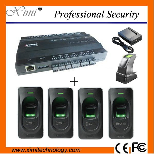 TCP/IP door access control system access control board with 4pcs rf1200 fingerprint reader and 1 fingerprint sensor to add user