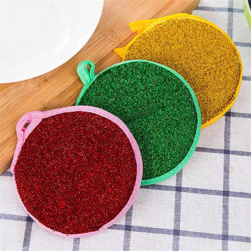 1271 circular double-sided dish towel scouring pad sponge dishwashing dishwashing cloth does not touch the oil