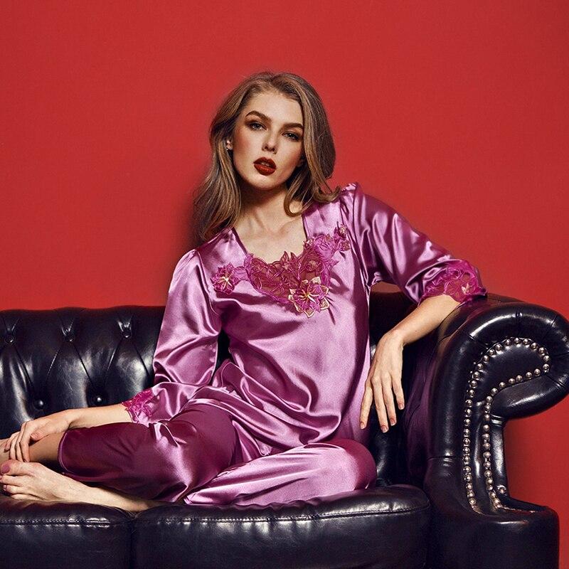 2910fa255d Aliexpress.com   Buy 2018 Caiyier Silk Pajamas Sets Women Summer Solid 2018  New Elegant Nightwear Sets Pink Purple Sleepwear Pajamas Sets LSB7851 from  ...