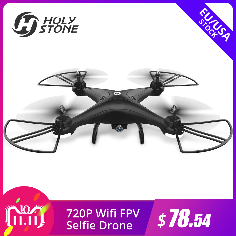 купить [EU USA Stock] Holy Stone HS110D 720P HD Camera FPV 3D Flips RTF with 4G TF Card RC Helicopter WiFi APP Altitude Hold Quadcopter