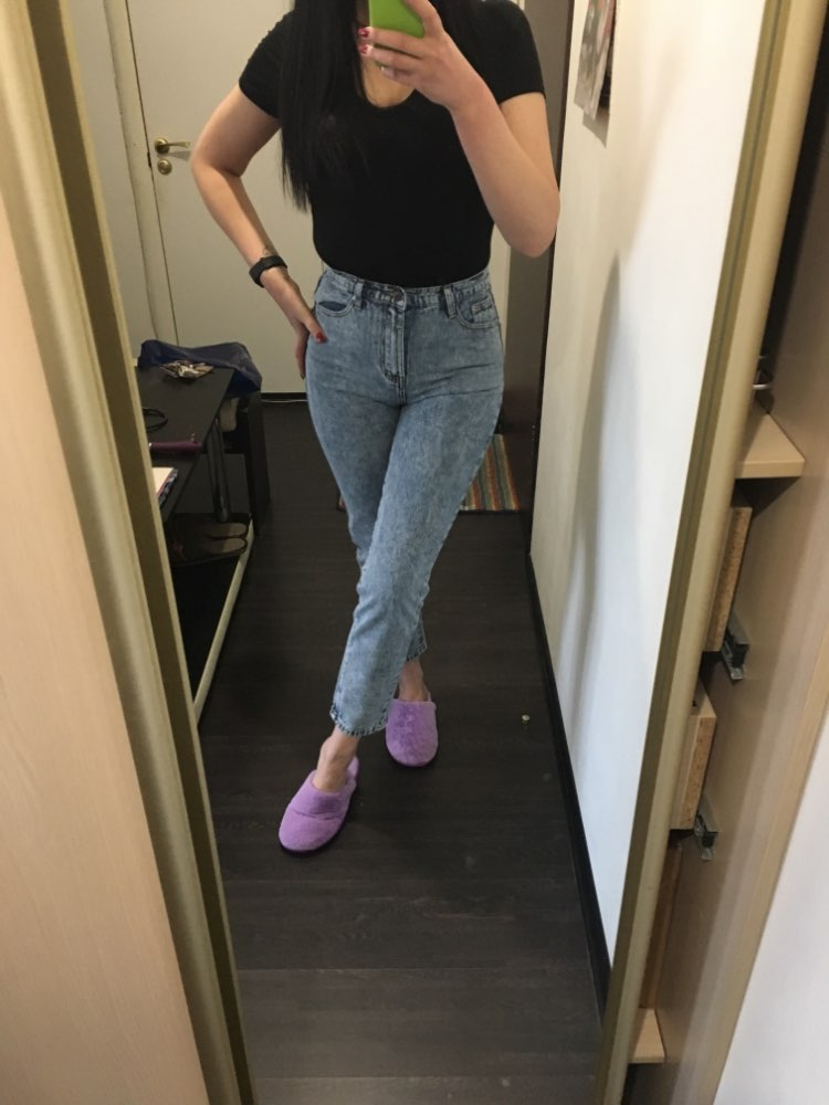 High Quality Women Long Jeans High Waist 100% Cotton Snow Wash Type Denim Jeans Vintage Loose Straight Denim Jeans Trousers photo review