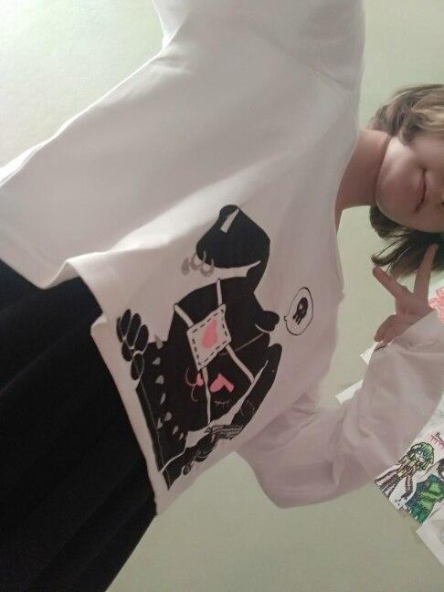 Black Comic Rabbit Dress Teens Girls 2 Pcs Suit Sweet Cotton Dress Short Cute Bunny Print Long Sleeves Japanese Lolita Dress photo review